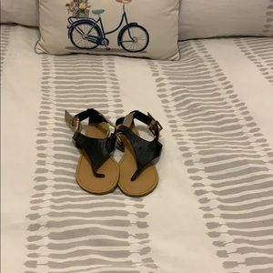 BAMBOO Black and Tan Sandals